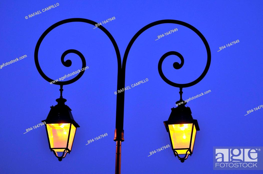 Stock Photo: Street lamp, Osseja. Pyrenees-Orientales, Languedoc-Roussillon, France.