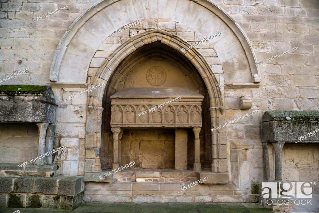 Stock Photo: Elevated ancient tombs outside the church of Vallbona de les Monges catalonia.