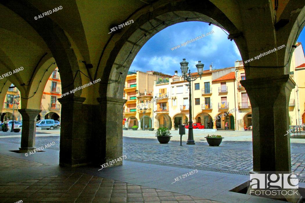Stock Photo: Arcades of the main square, Amer, La Garrotxa, Catalonia, Spain.