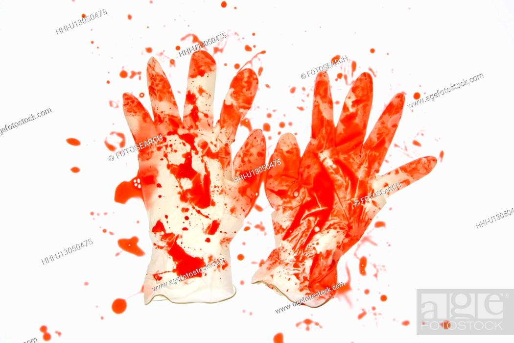 Stock Photo: Pair of rubber gloves with blood splattered on them.