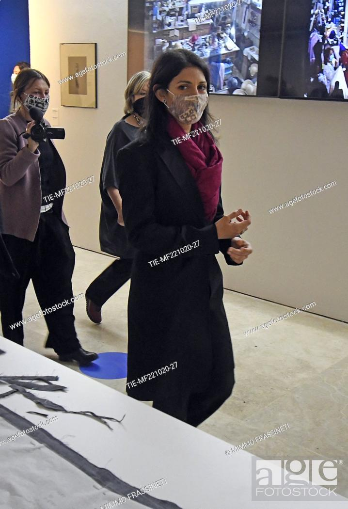 Stock Photo: Mayor of rome Virginia Raggi at 'Romaison 2020' exhibition featuring archives and creations from Rome's foremost costume design studios , Ara Pacis Museum, Rome.