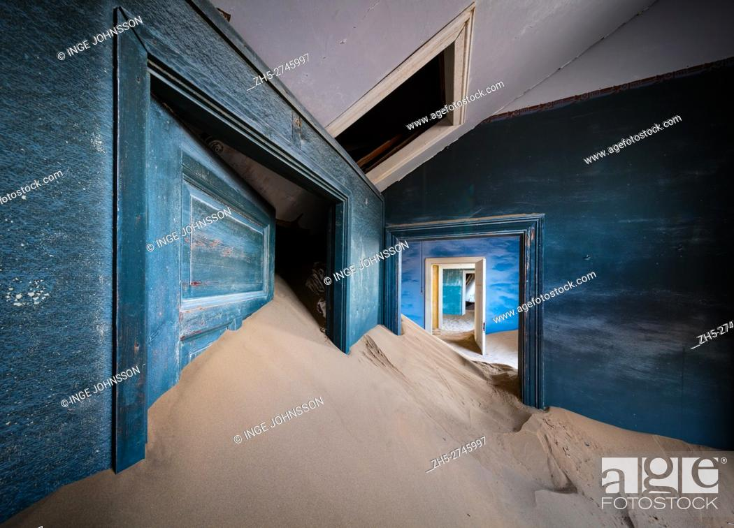 Stock Photo: Kolmanskop (Afrikaans for Coleman's hill, German: Kolmannskuppe) is a ghost town in the Namib desert in southern Namibia.