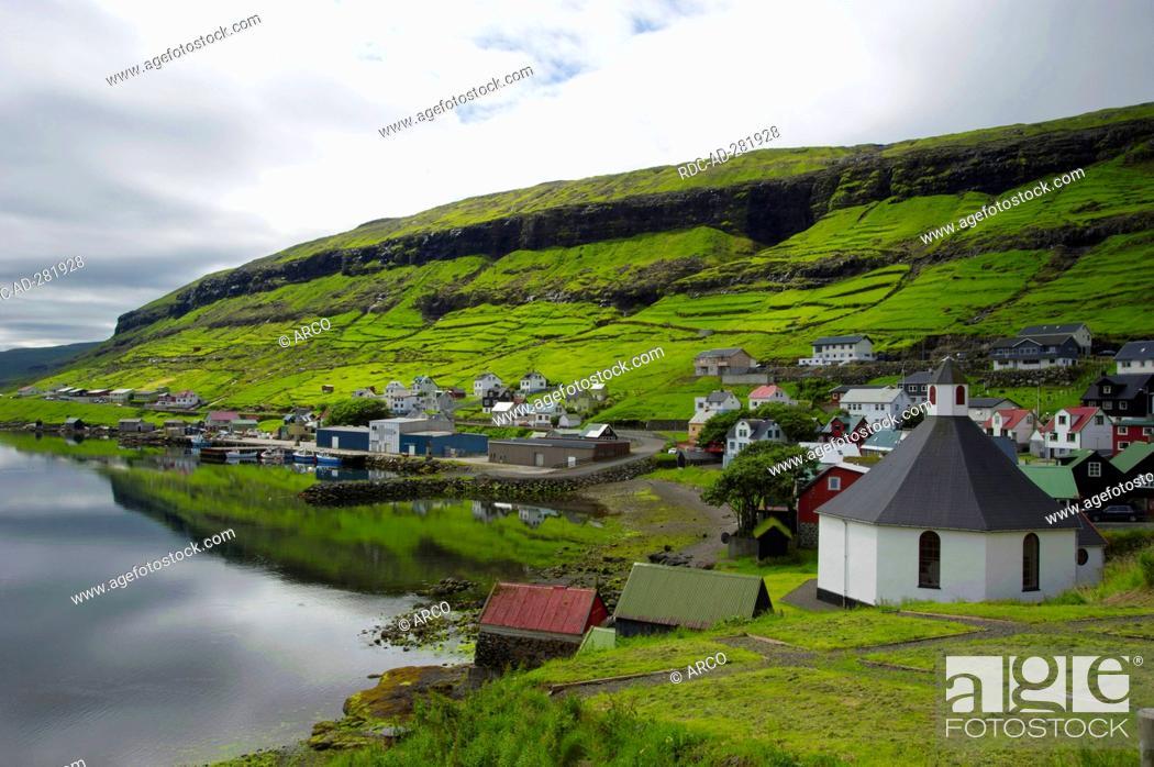 Stock Photo: Church, Haldarsvik, Streymoy, Faro Islands, Denmark / Faerö Islands, Färö Islands, Faeroe Islands.