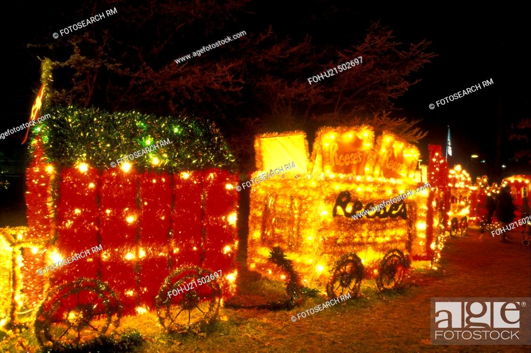 stock photo pennsylvania hershey hershey park a train with christmas lights decorates