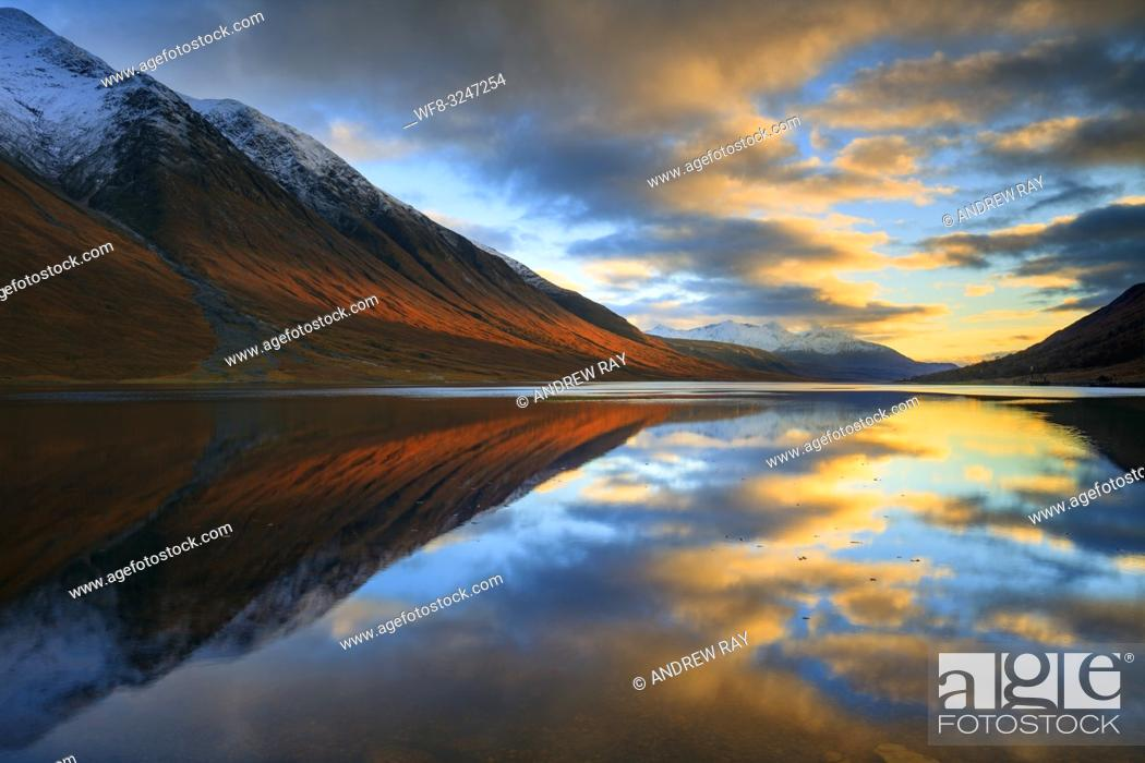 Stock Photo: Loch Etive in the Scottish Highlands captured shortly before sunset in early November from Gualachulain.