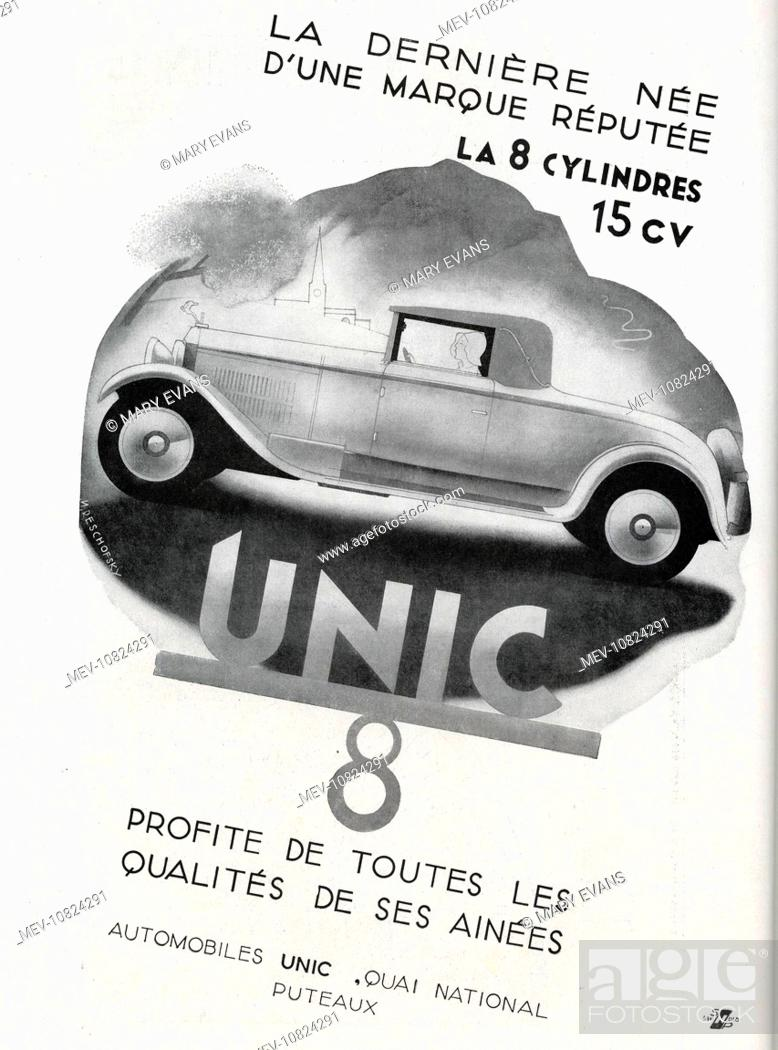 Art Deco Magazine Advertisement for Unic cars, showing the 8