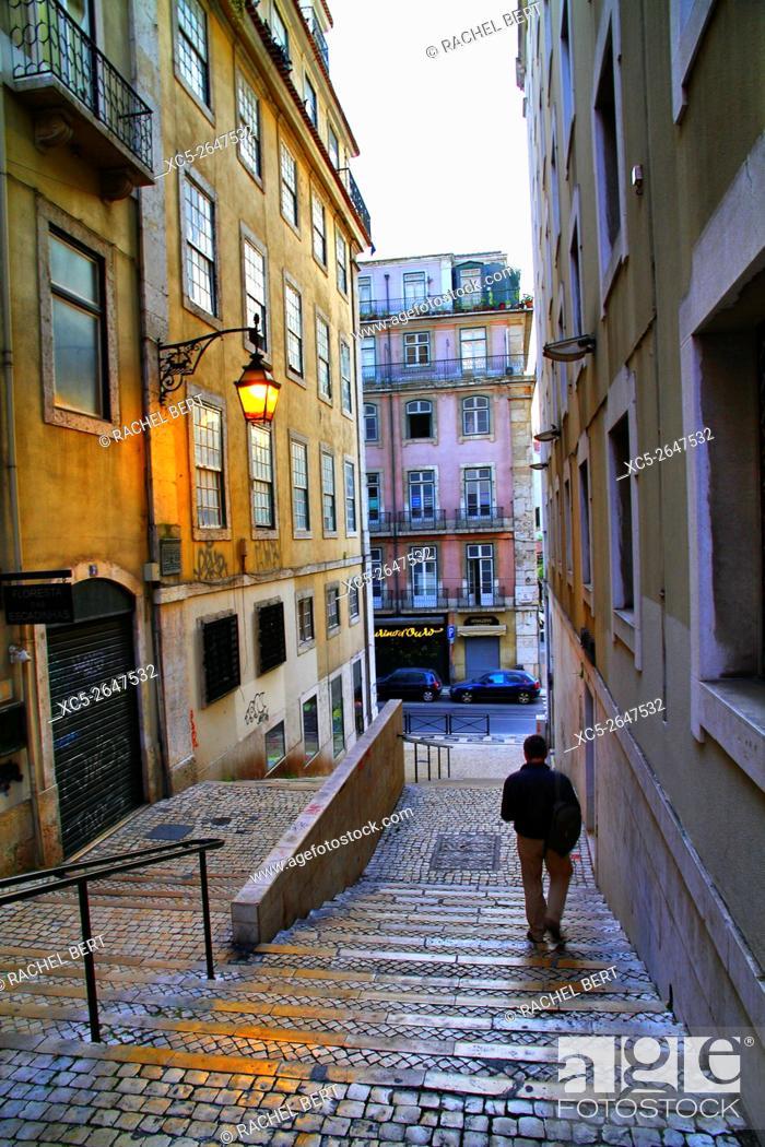 Stock Photo: Steps near Largo Sao Cristovao, Lisbon, Portugal.