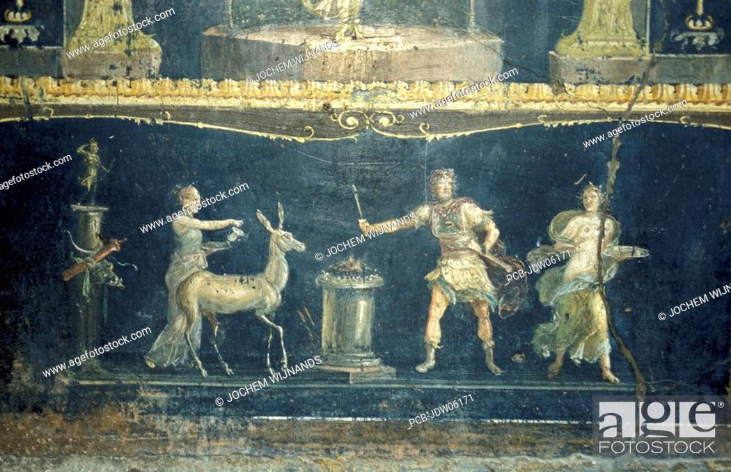 Pompeii, painting in the Ruins of the House of the Vettii, Stock