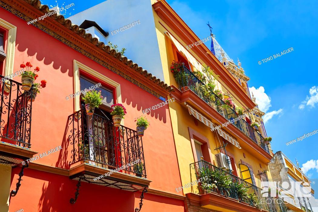 Stock Photo: Triana barrio facades in Seville Andalusia Spain Sevilla.