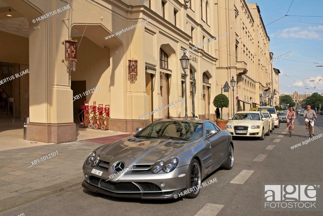 Stock Photo: Maximilianstraße with Mercedes Mc-Laren, Dubai numberplate, Munich, Upper Bavaria, Bavaria, Germany.