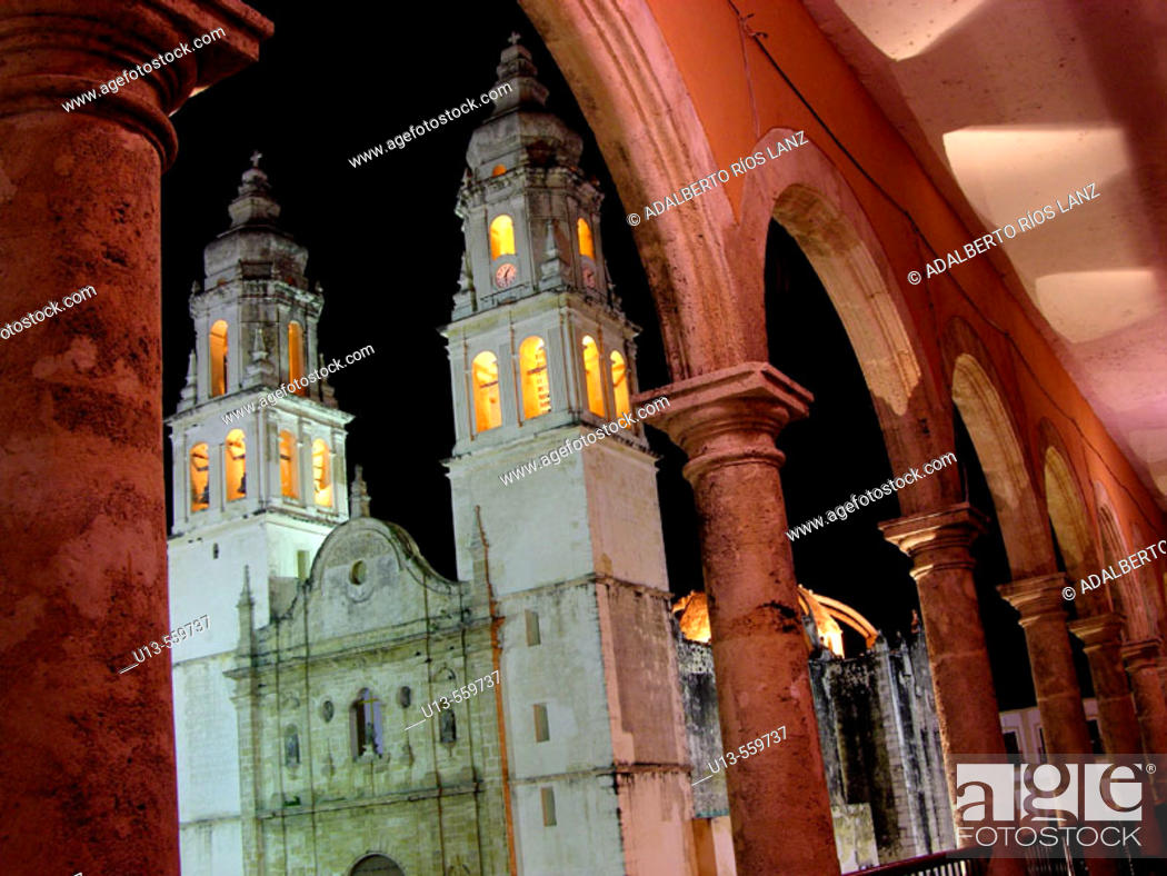 Stock Photo: Cathedral. XVIth century. Campeche old town. World Heritage. Mexico.