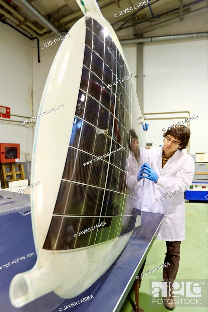Stock Photo: UAV. Drone. Research and development of solar panels. Energy and Environment Division. Research and Innovation. Donostia. San Sebastian. Gipuzkoa.