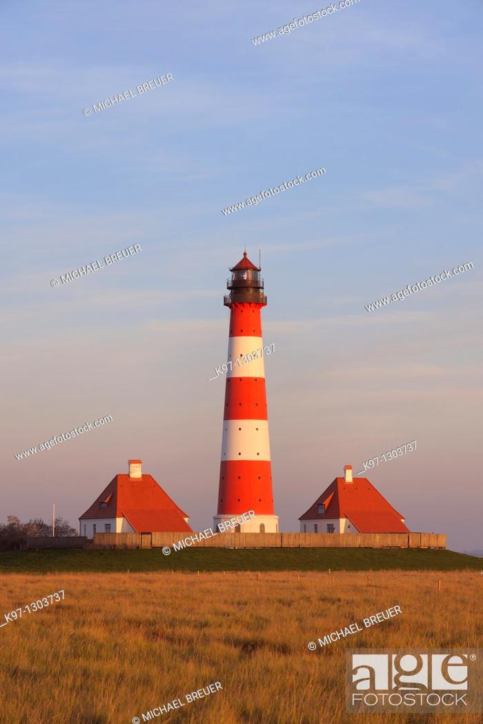 Stock Photo: Lighthouse WESTERHEVER, Schleswig-Holstein, Germany, Europe.