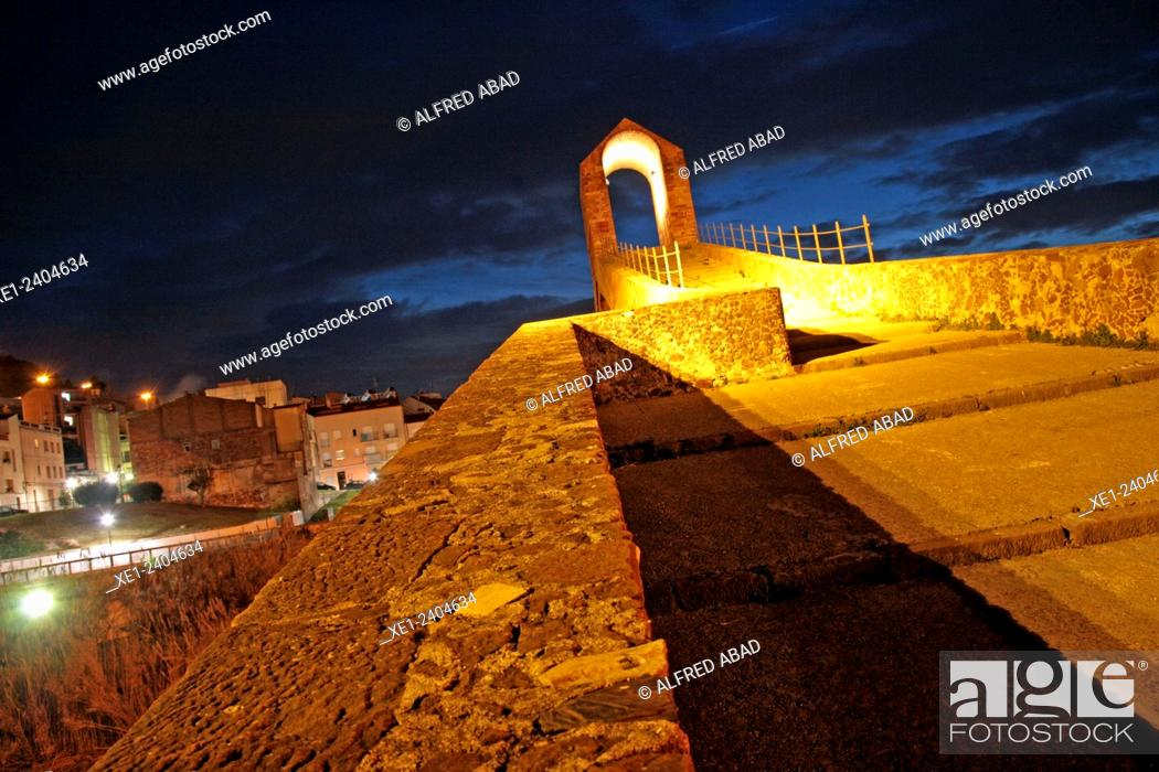 Stock Photo: Pont del Diable at night, Martorell, Catalonia, Spain.