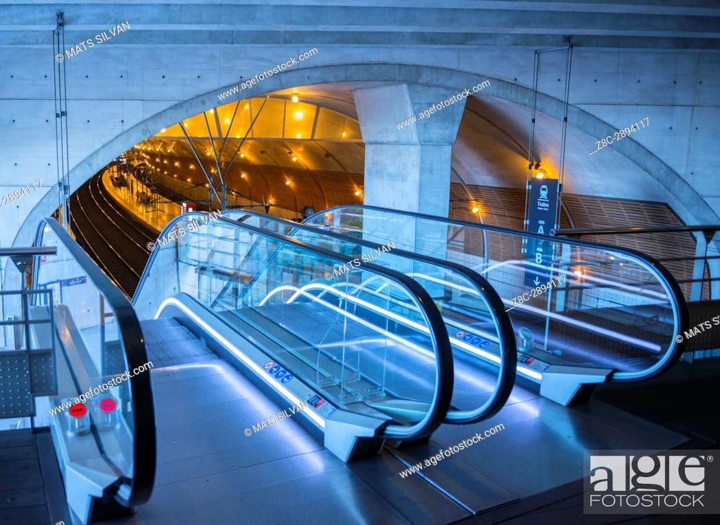 Stock Photo: Gare De Monaco - Escalator in Train Station in Monte Carlo, Provence-Alpes-Côte d'Azur, Monaco.