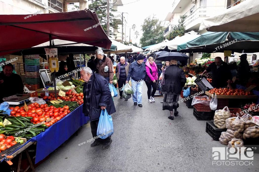 Stock Photo: Chania Open Air Street Market, Crete, Greece.