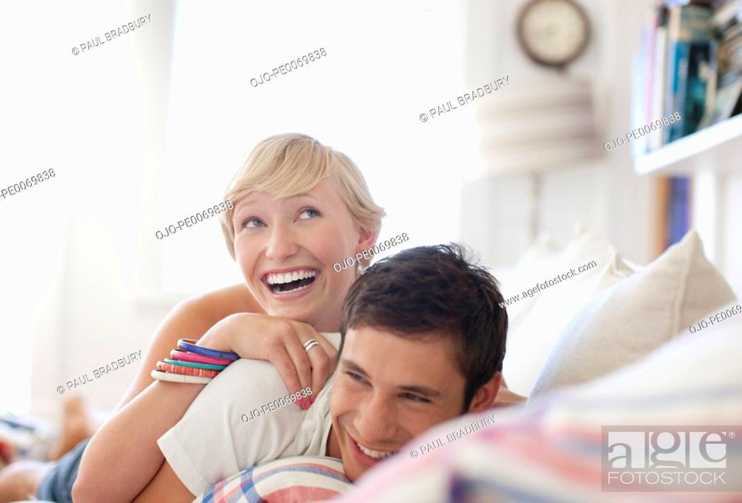 Stock Photo: Couple laying in bed.