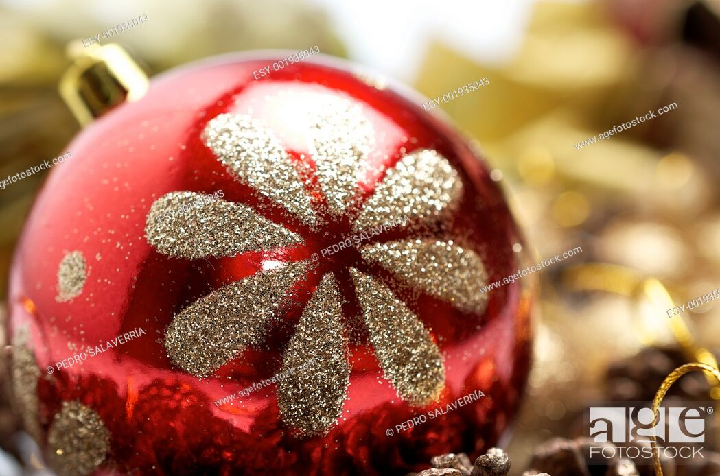 Stock Photo: Christmas decoration balls with glitter gold red.
