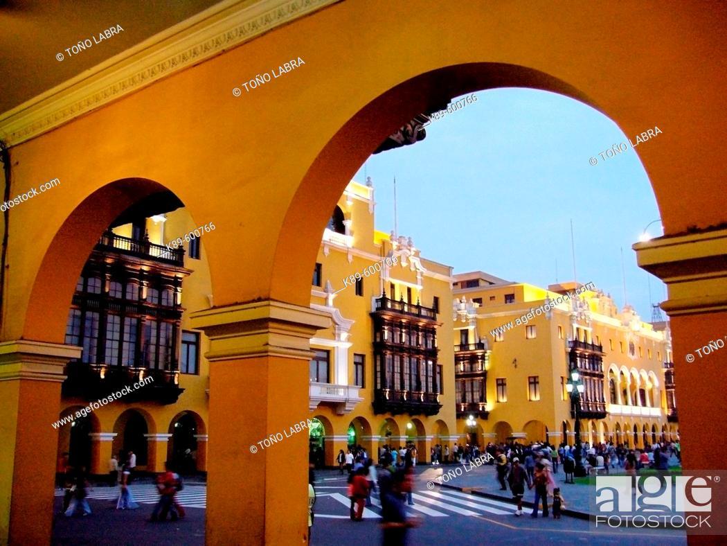 Stock Photo: Main Square. Historic centre. Lima. Peru.