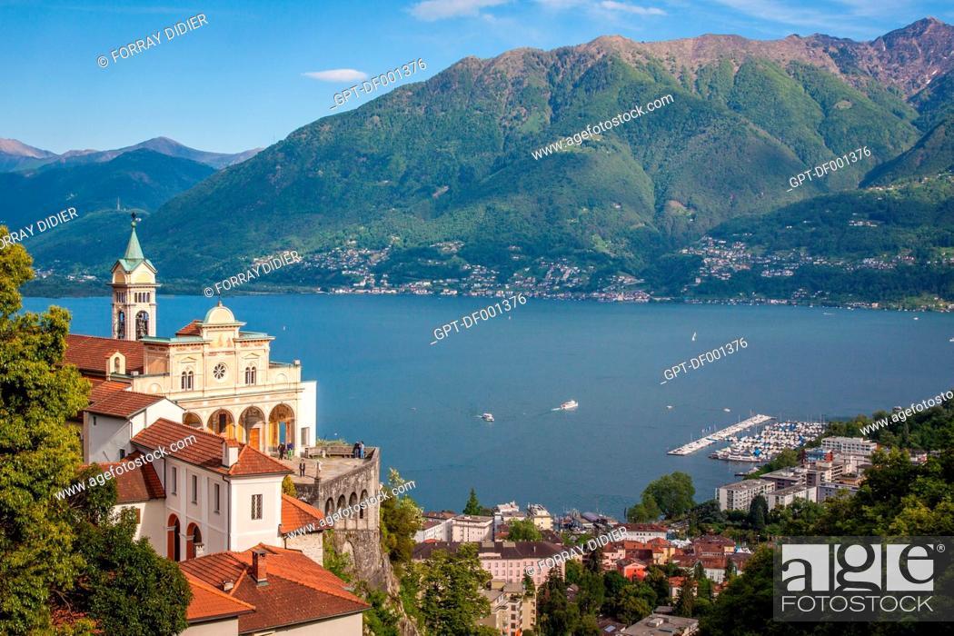 Stock Photo: VIEW OF THE MADONNA DEL SASSO SHRINE AND LAKE MAGGIORE IN LOCARNO, CANTON OF TICINO, SWITZERLAND.