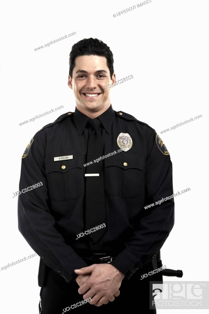 Stock Photo: Male police officer smiling.