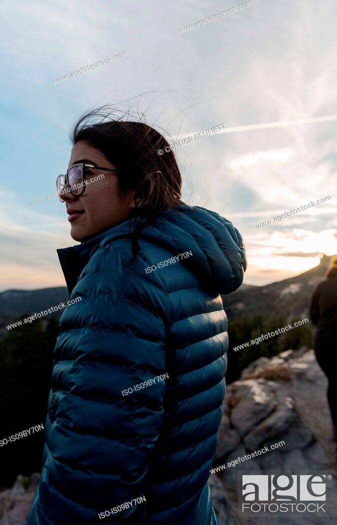 Stock Photo: Tourist enjoying scenery on hilltop, Arcata, California, United States.