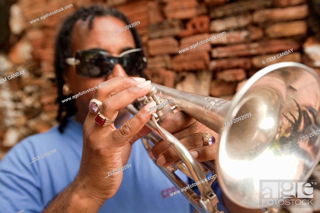 Stock Photo: Cuban musician playing trumpet, Trinidad, Cuba, Antilles, Central America.