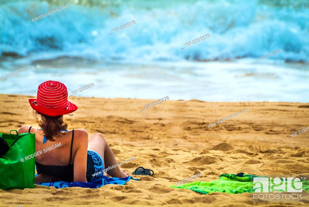 Stock Photo: Relaxing at the beach, facing the waves. Brisbane, Australia.