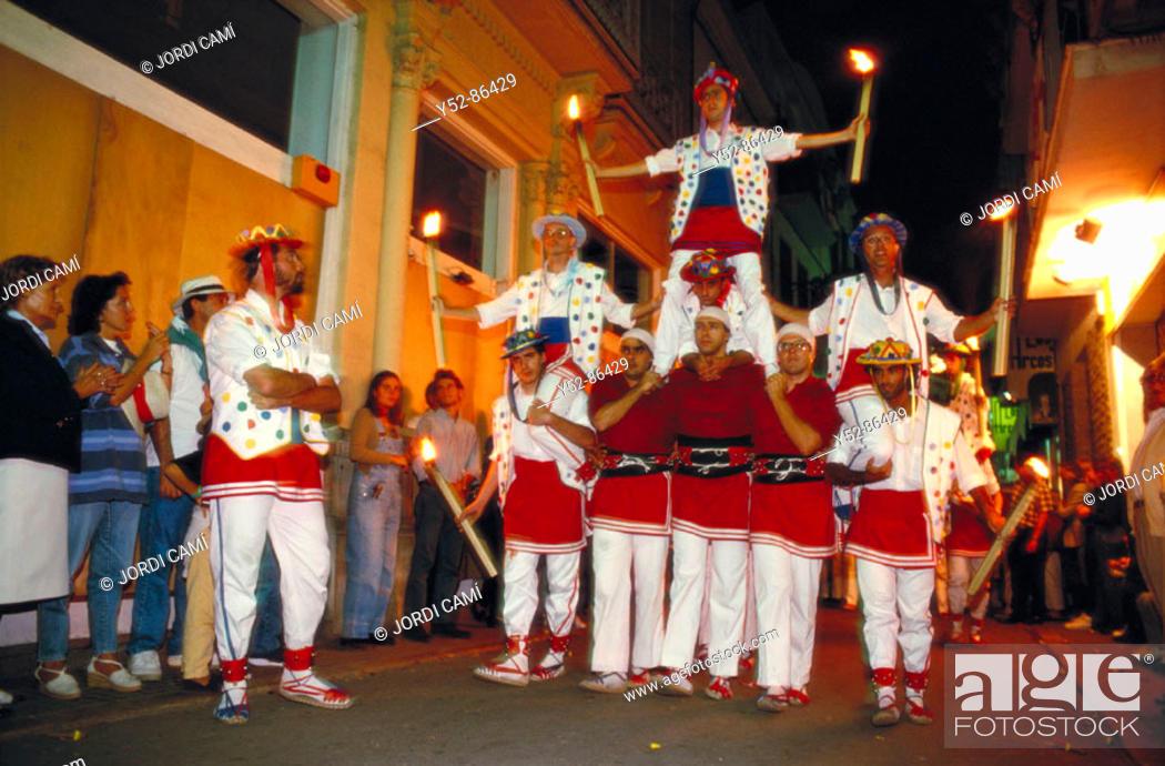 Stock Photo: 'Moixiganga'. Santa Tecla festival, Sitges, Barcelona province, Catalonia, Spain.