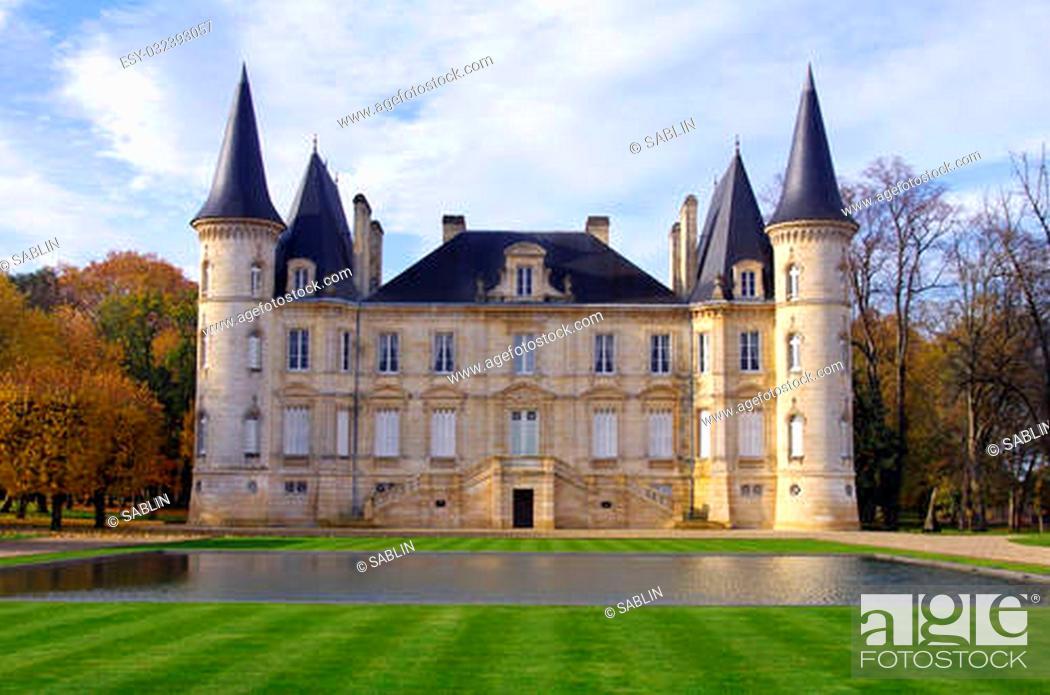 """Stock Photo: """"""""""""""""""""chateau pichon longueville"""""""" is a famous wine castle built in 1851 by Raoul de Pichon Longueville."""