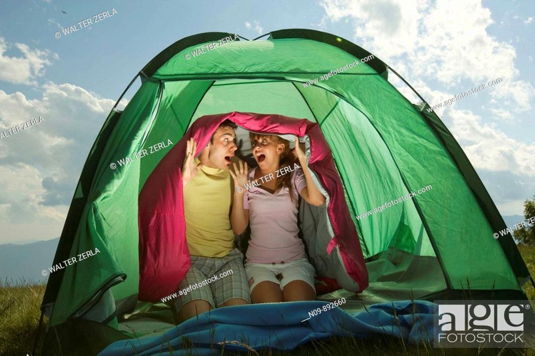 Stock Photo: Happy Couple Camping.