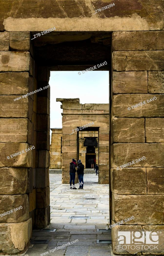Stock Photo: Vertical view of Debod temple in Madrid city, Spain.
