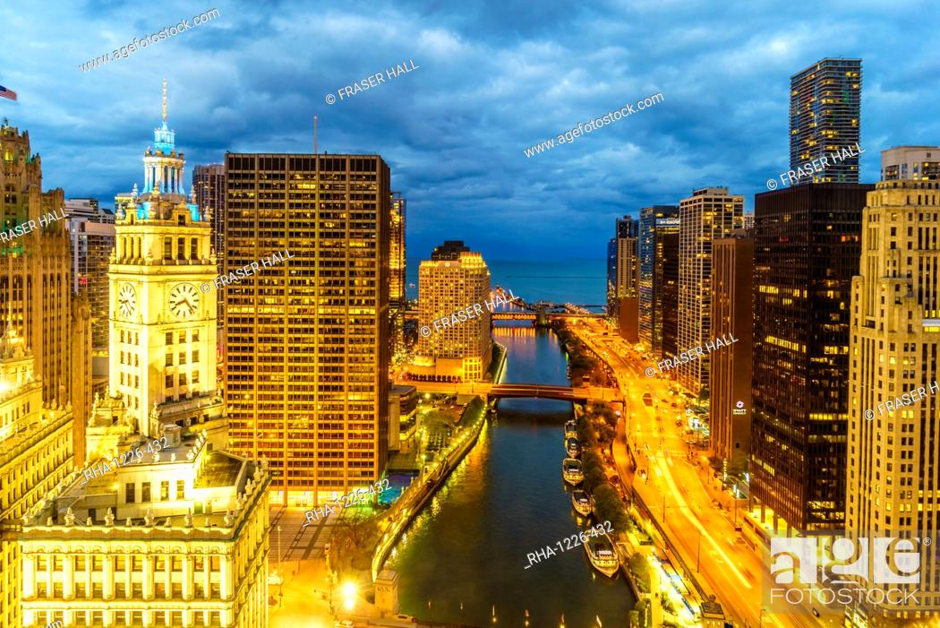 Stock Photo: Towers along the Chicago River towards Lake Michigan, Chicago, Illinois, United States of America, North America.