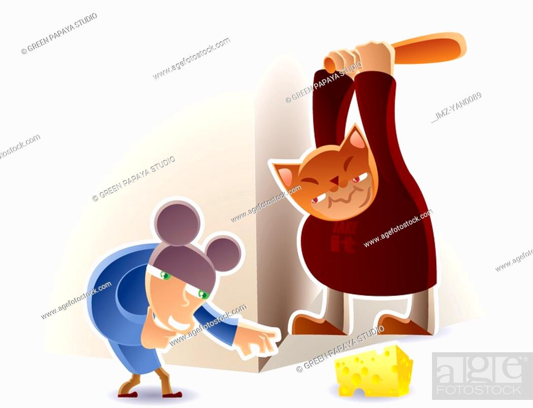 Stock Photo: Two men playing a game of cat and mouse.