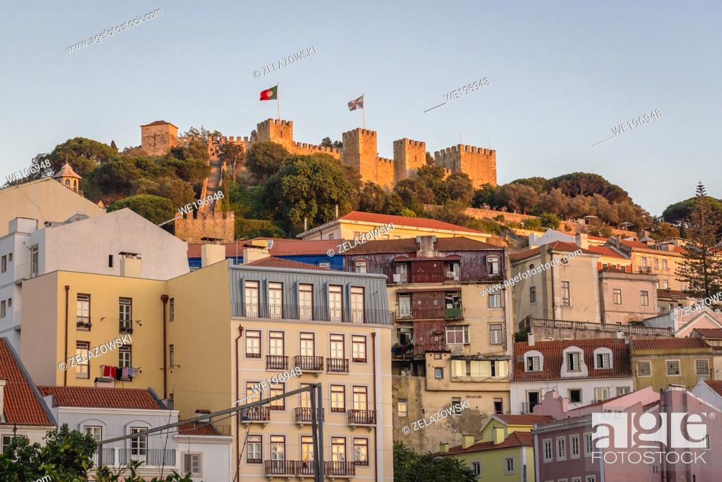 Stock Photo: Aerial view with Castelo de Sao Jorge citadel in Lisbon, Portugal.