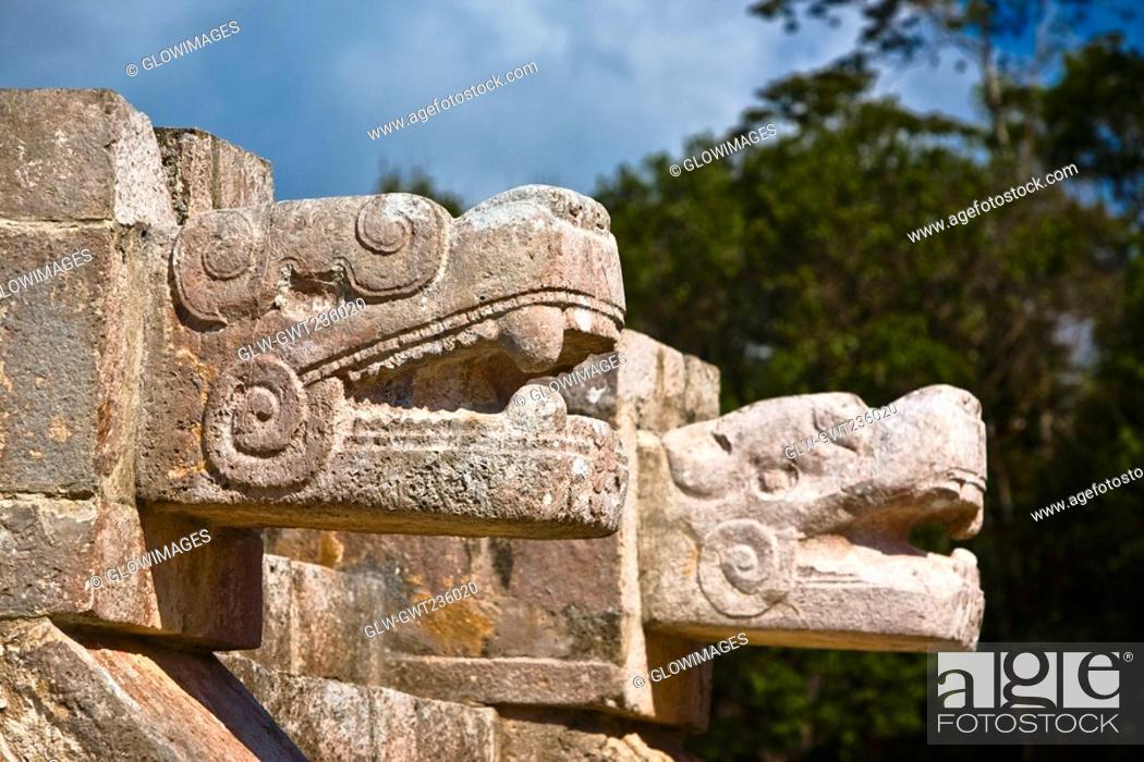 Stock Photo: Close-up of two statues of serpent, Chichen Itza, Yucatan, Mexico.