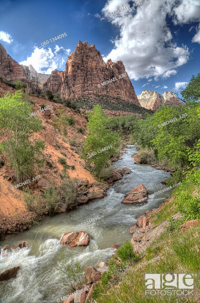 Stock Photo: The Virgin River flows through the heart of Zion Canyon at Zion National Park, Utah.