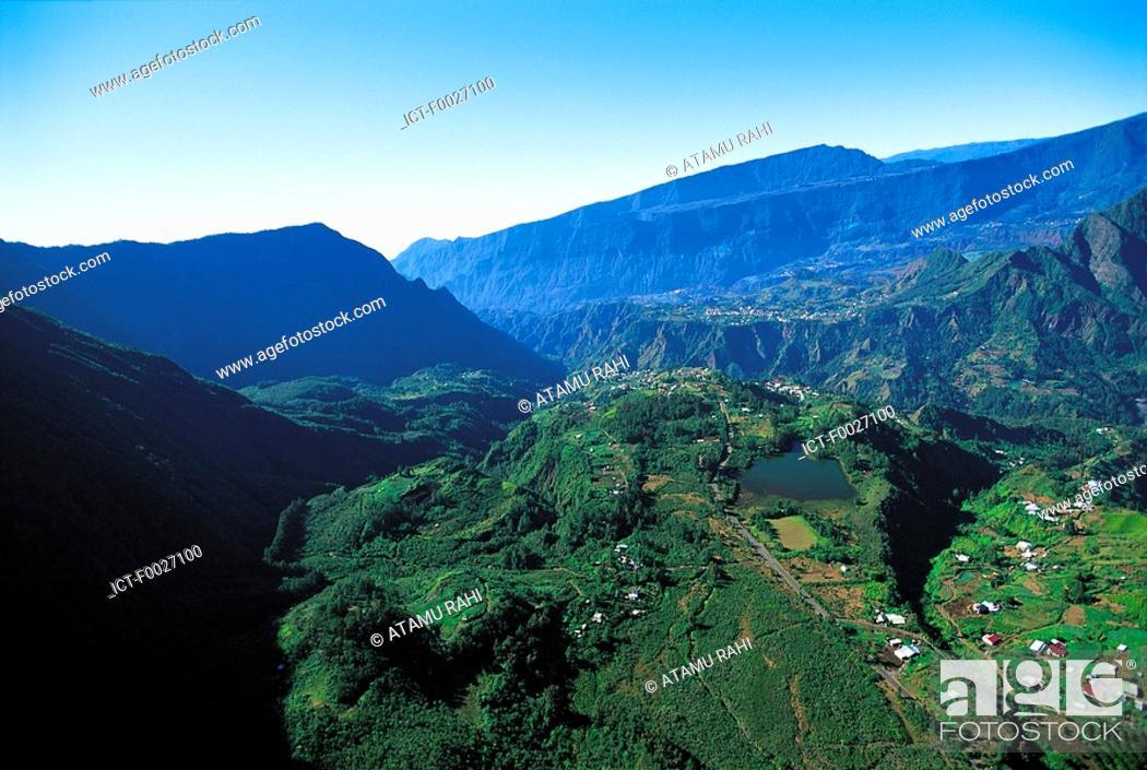 Stock Photo: Reunion, Cilaos cirque, aerial view.