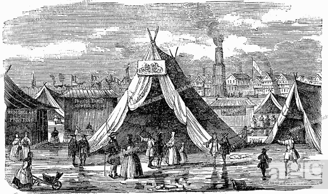 Stock Photo: Frost Fair on the Thames at London, 1734-40  Woodcut 1838.