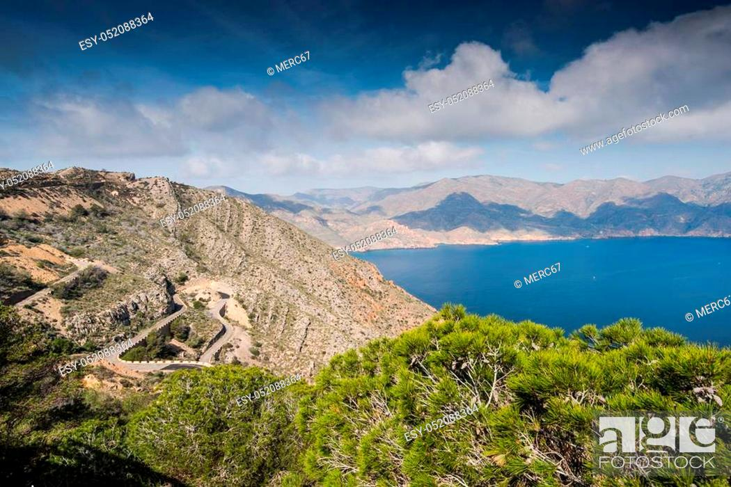 Stock Photo: Panoramic vista on hills in Murcia coast in Spain.