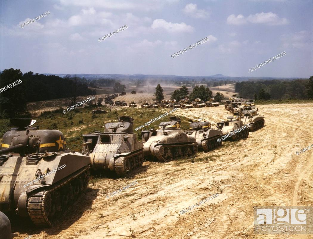 Stock Photo: M-4 Tank Line, Fort Knox, Kentucky, USA, Alfred T. Palmer for Office of War Information, June 1942.