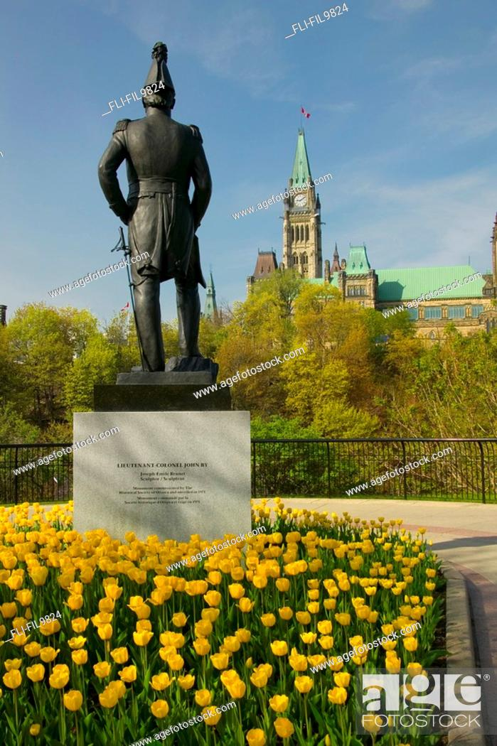 Stock Photo: Statue and Parliament Hill, Ottawa, ON.