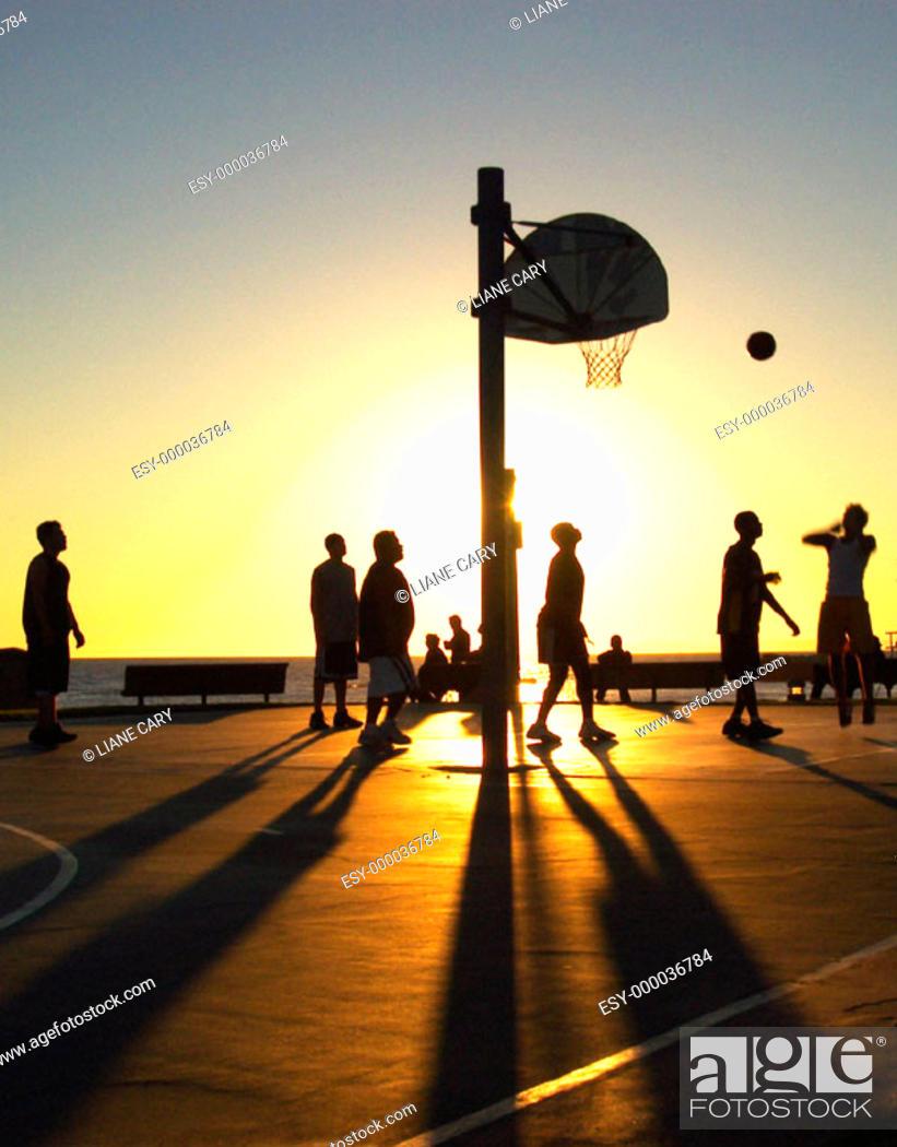 Imagen: sunset basketball.
