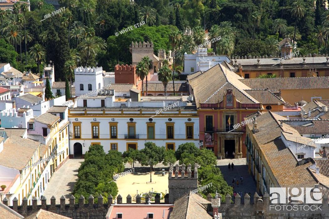 View Of Seville S Historic Centre And Patio De Las Banderas And The
