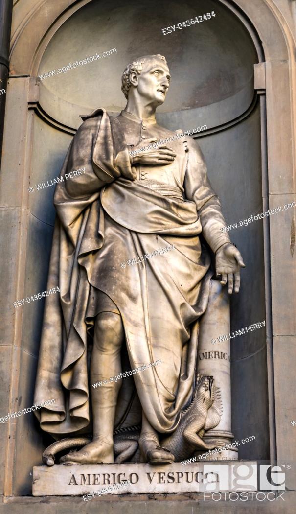 Stock Photo: Amerigo Vespucci Italian Navigator Map Maker Painter Statue Famous Florentine Uffizi Gallery Florence Italy. Vespucci first determined that the Americas were a.