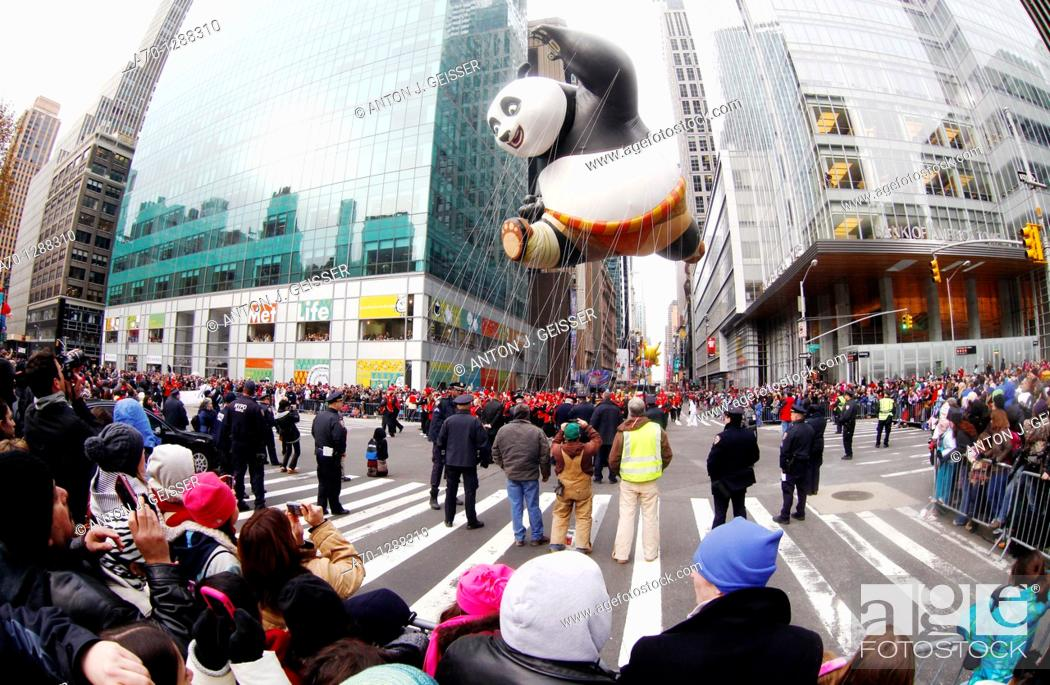 Stock Photo: New York City, kung fuu panda balloon at the 85th Macys Thanksgiving Parade.