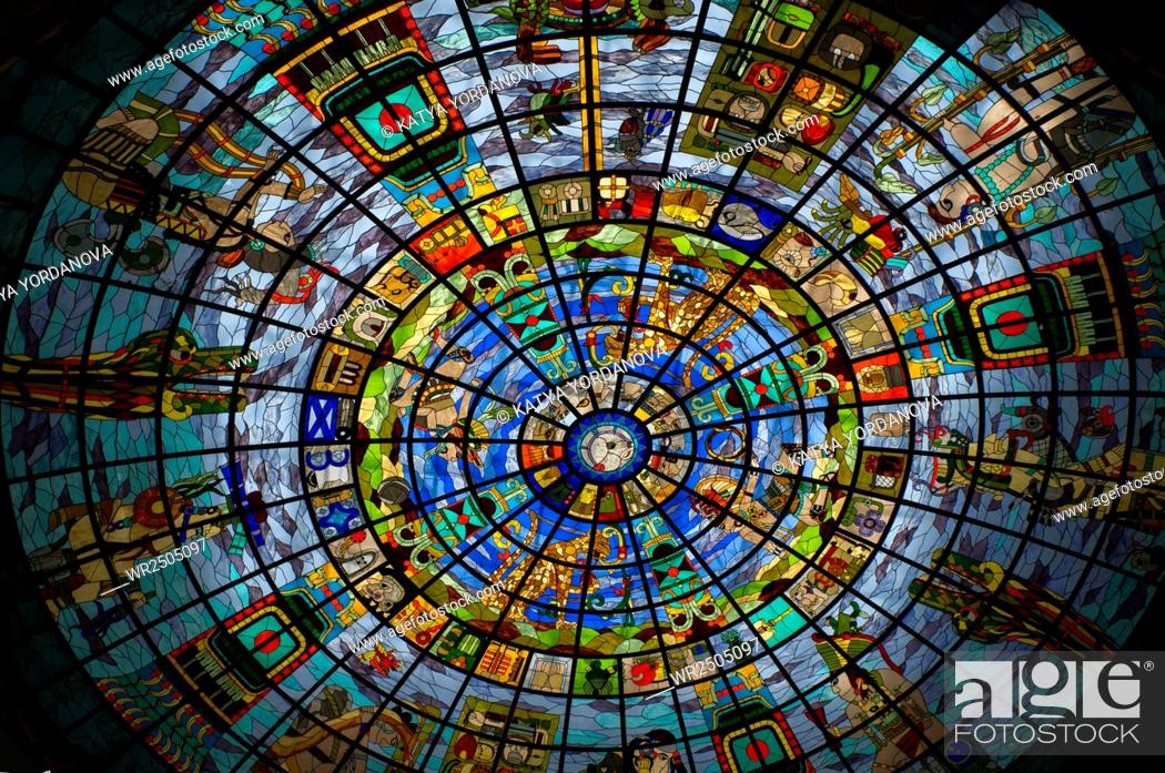 Stock Photo: Stained Glass with Mayan Symbology in Shopping center in Cancun, Mexico.
