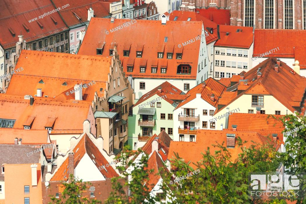 Stock Photo: views of the red roofs of the city of landshut from a nearby hill. Bavaria, Germany.