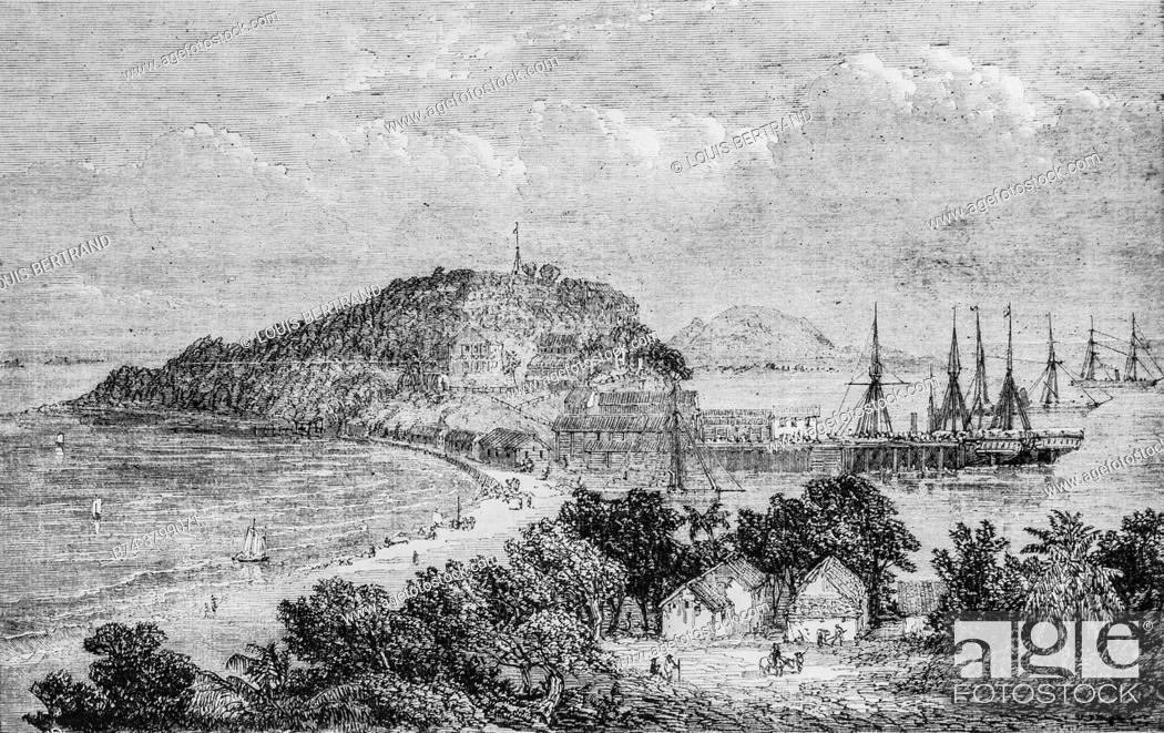 Photo de stock: taboga bay in panama, illustrious universe, publisher michel levy 1868.