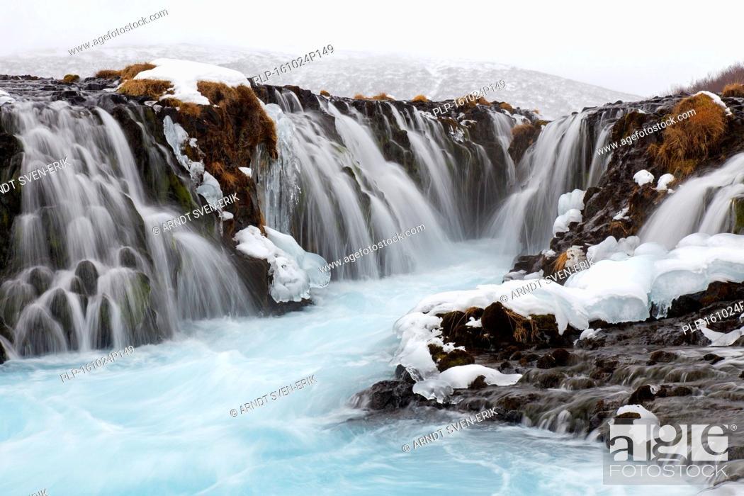 Stock Photo: Bruarfoss waterfall in winter, Iceland.